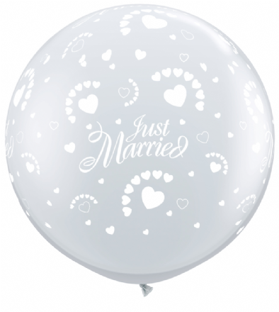 3FT Diamond Clear  Just Married Hearts Latex Balloons x 2